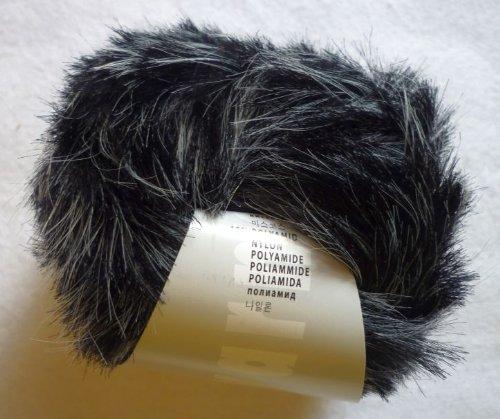 Lang Yarns Softhair Fancy Fakefur Garn 50g schwarz grau meliert 199 €/kg