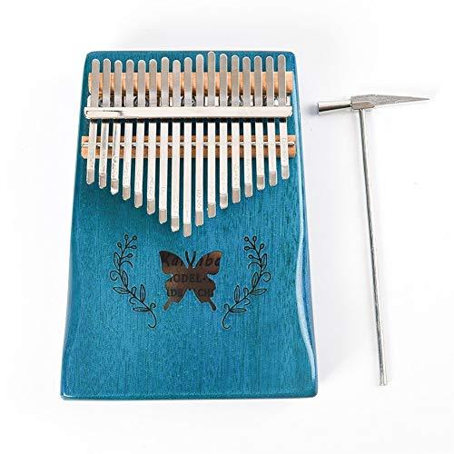 Kalimba, Daumenklavier 17 Keys Kalimba Daumenklavier-Blau-Muster Akustische Kalimba Mbira Massivholz-Tastatur-Musikinstrument-Weihnachtsgeschenk-Spielzeug-Set