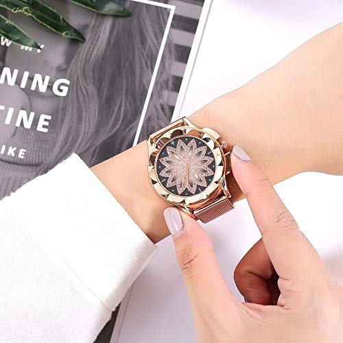 Women Watch Fashion Designer Simple Elegant Casual Slim Flower With Rhinestone Mesh Belt Alloy Bracelet Quartz Watch For Wowen Ladies Girls(rose Gold) (Color : Rose Gold)