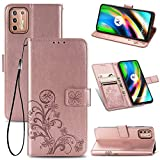 UPOLW-B pour Motorola Moto G9 Play Case, Lucky Clover Embossment Leather Strong Magnetic Clasp Flip...