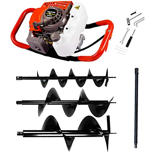 ECO LLC 63CC Heavy Duty Gas Powered Post Hole Digger with 3pcs Earth Auger Drill Bits (6' & 10' & 12'' Bits) and 60cm Extention Rod (Products Will be Delivered in Multiple Packages)