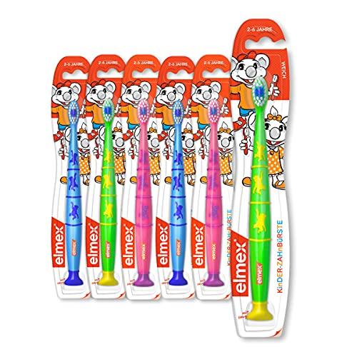 elmex Zahnbürste Kinder 2-6 Jahre, weich 6er Pack - Handzahnbürste mit Saugnapf, Pack beinhaltet verschiedene Farben