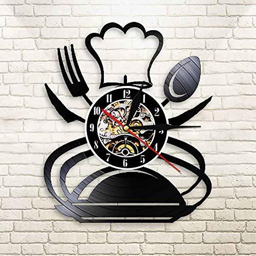 Fryymq (12 Pulgadas con LED) vajilla Disco de Vinilo Reloj de Pared Cuchara Tenedor Cuchillo Reloj de Cuarzo Cocina Comedor Reloj Familiar decoración Mural