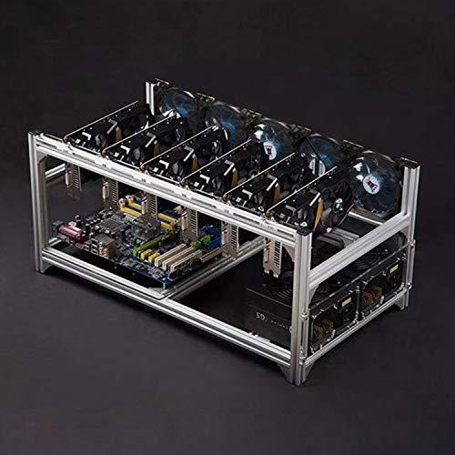 Bitcoin mining 6-GPU asic miner マイニングケース アルミニウム マイニングフレーム 積み重ね可能 マイニングリグ オープンエアフレームケース ファンマウント付き - イーサリアム(ETH,ETC)/ZCash(ZEC)/Monero(XMR)/ビットコイン(BTC)/Siacoin(SC) [AMZ.JP限定] [並行輸入品]