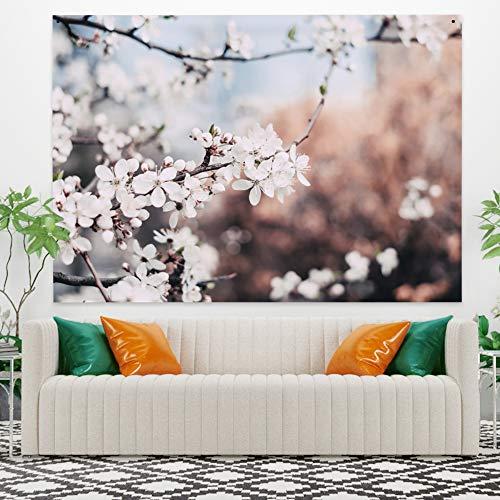 Miueapera Tapiz de Sakura floreciente Flor de Flor de Cerezo Colgante de Pared Paisaje de Primavera Tapiz de Pared Decoración de Pared Tapiz para Sala de Estar Dormitorio 59.1x39.4 Pulgadas