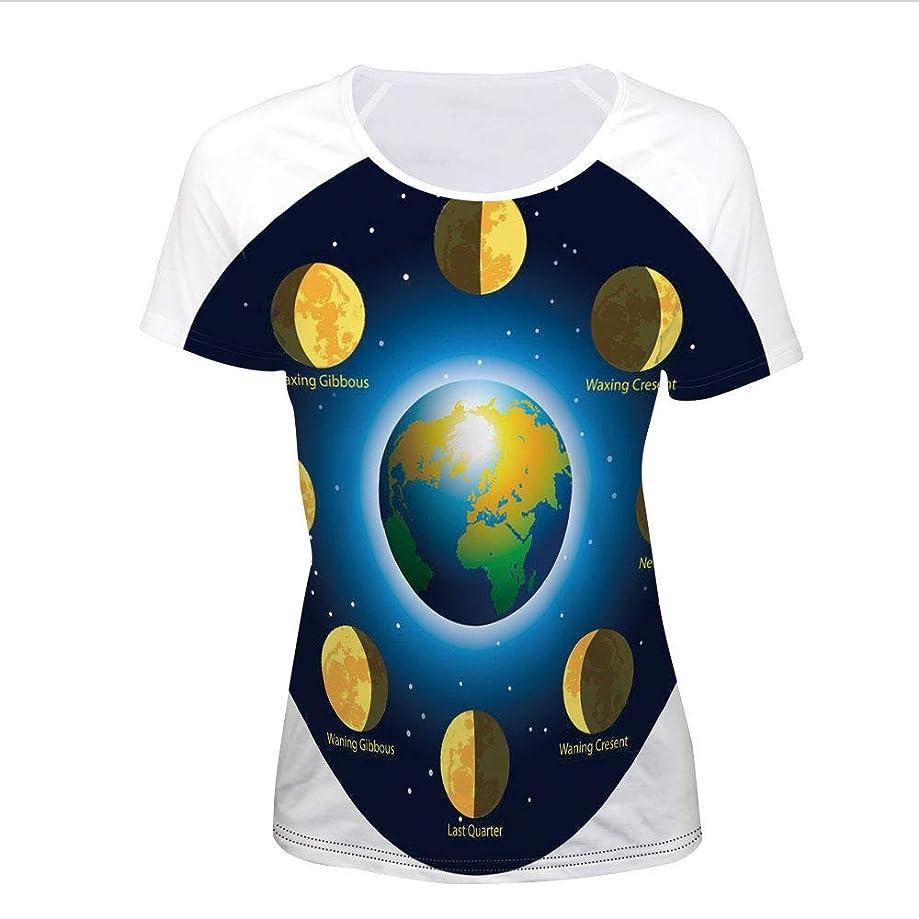 T-Shirt,Basic Phases of Moon Calendar Cosmos Universe,Women 3D Print