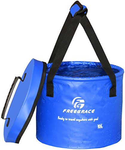 Freegrace Premium Collapsible Bucket -Multifunctional Folding Bucket -Perfect Gear for Camping, Hiking & Travel (Navy Blue, 23L Upgraded)