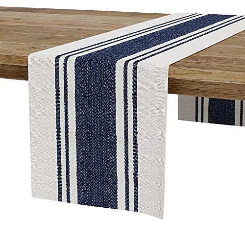 """Barnyard Designs Herringbone Striped Table Runner, 100% Cotton, Rustic Farmhouse Style Decor, for Dining, Console or Entry Table Decoration, Navy/Ivory, 14"""" x 72"""""""