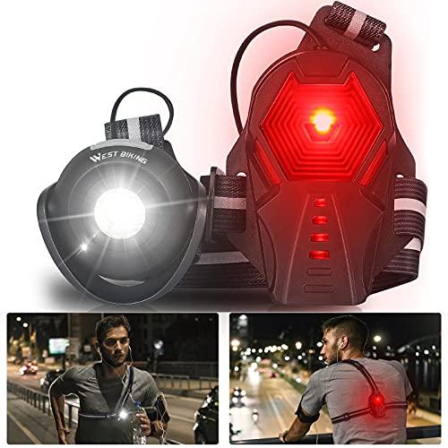HONGYEA Luz de correr, recargable por USB, luz de pecho, 500 lúmenes, resistente al agua, 3 modos de luz, rotación de 90°, lámpara segura para correr, caminar, pesca, camping