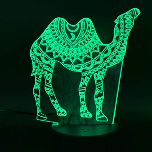 Solo 1 piezas Arabesque Camel Creative Led Night Light para Office Home Room Decoration Acrílico Crafts Cool Gift para niños Lámpara de dormitorio infantil