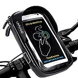 LEMEGO Bolsa Bicicleta Manillar para Ciclista Ciclismo, Bolso de Bici Impermeables Soporte Móvil teléfono para teléfonos móviles Inferior de 6 Inches (Negro)