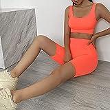WTFYSYN Pantalones de Yoga para Mujer Deportiva Atlético,Ropa de Yoga sin Fisuras Ropa de Entrenamiento-Set de Yoga Naranja_L.