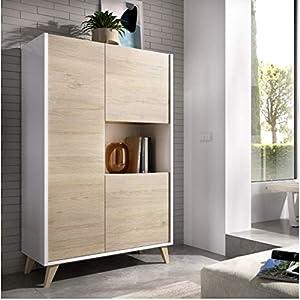 HABITMOBEL Mueble aparador Vitrina, Acabado Roble y Blanco, Medidas: 81 cm (Ancho) x 43 cm (Fondo) x 135 cm (Alto).