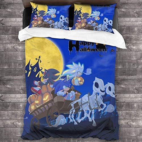 Sonic The Hedgehog and Shadow - Juego de ropa de cama (3 piezas, funda de edredón transpirable, 220 x 240 cm + 50 x 75 cm x 2)
