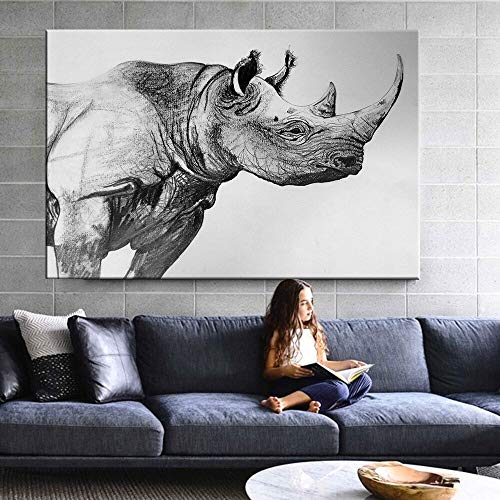 KWzEQ canvas painting print Black and white rhino on wall art for bedroom living room,60x90cm,Frameless painting