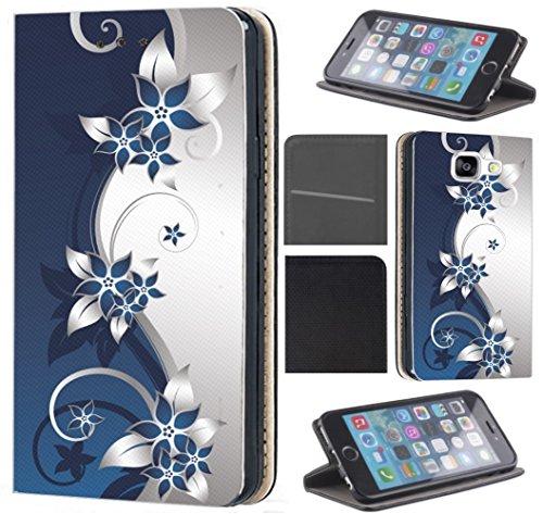 Samsung Galaxy S7 G930F Hülle von CoverHeld Premium Flipcover Schutzhülle Flip Hülle Motiv (211 Blumen Blau Weiß)