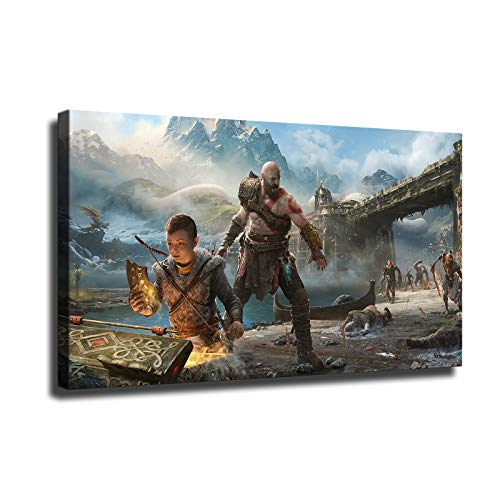 Xishang Art God of War Canvas Prints Video Game Poster Wall Art for Home Office Decorations unframed 13'x8'