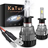 KATUR H3 Lampadine per fari a LED Estremamente Luminose 10000LM CREE Chips Kit di conversione del Faro all-in-One Design Mini 60W 6500K Xenon White-2 Years Waranty