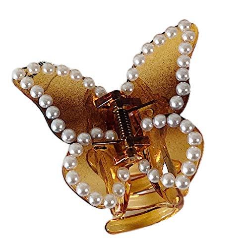 Diadema para mujer, diseño de mariposa, transparente, con perlas de imitación y diamantes de imitación