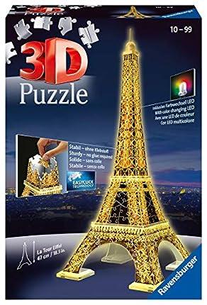 Ravensburger 125791, Puzzle 3D, Puzzle 3D Tour Eiffel Night, Edición Nocturna, 226 Piezas, Edad Recomendada 12+