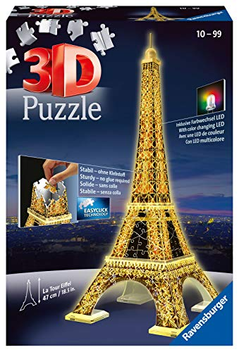 Ravensburger Eiffel Tower Night Edition 216 piece 3D Jigsaw Puzzle with LED lighting for Adults & for Kids Age 10 and Up