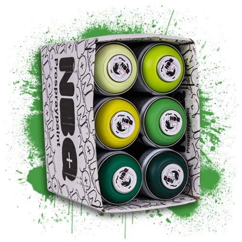NBQ Packs Spray Paint Matte Finish Street Art RESTAURIERUNG Dekoration DYV Graffiti NIEDRIGER Druck (Grun, 12)