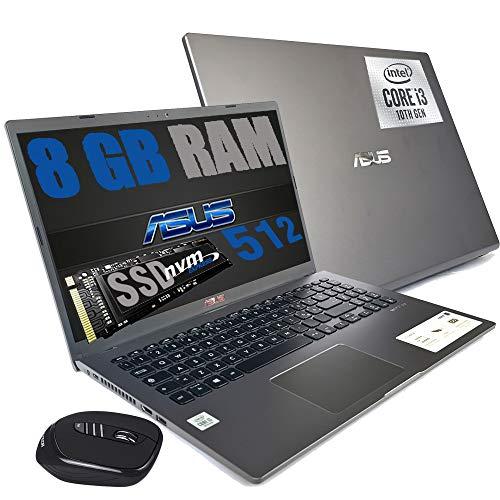 "Asus Gray Ordinateur portable PC Écran FHD 15,6"" CPU Intel i3-1005G1 3,4 GHz / RAM 8 Go DDR4 / SSD M2 512 Go / HD Graphics UHD / HDMI Wifi Bluetooth / Windows 10 / Open Office + souris"