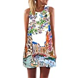 FORUU Womens Girls Vintage Boho Summer Sleeveless Beach Printed Short Mini Dress (L, White 3)