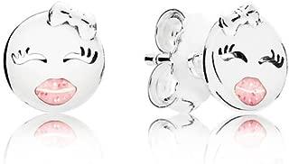 Playful Winks Stud Earrings, Light Pink Enamel 297102en161