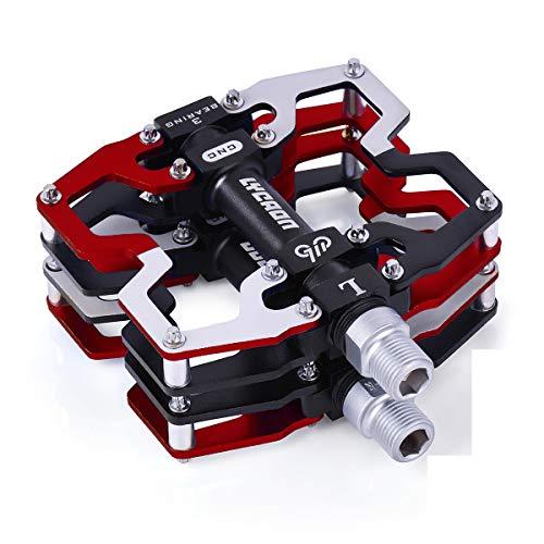 LYCAON Pedales para Bicicletas, Pedal de Bicicleta de Husillo CR-Mo Antideslizante de Aleación de Aluminio Mecanizado por CNC, para Pedales de Bici de Carretera MTB BMX Cycle Mountain de 9/16' (Rojo)