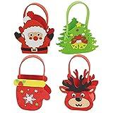 4 pezzi di caramelle natalizie fai da te artigianato in feltro per bambini Babbo Natale alce pupazzo di neve bambini set da cucito decorazione della tavola per feste regali di natale