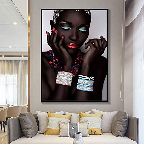 Schwarze Frau Wandkunst HD-Druck sexy Hauptdekoration Poster Bild Leinwand Schönheit Malerei Porträt Wohnzimmer Familie rahmenlose dekorative Malerei A42 60x80cm