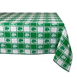 DII 100% Cotton, Machine Washable, Party, St Patrick's Day & Spring Tablecloth, 52x52' , Green & White Check with Shamrock, Seats 4 People