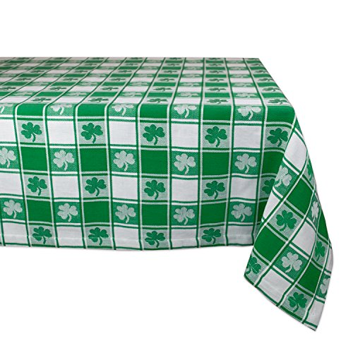 DII 100% Cotton, Machine Washable, Party, St Patricks Day & Spring Tablecloth, 60x84 , Green & White Check with Shamrock, Seats 6 8 People