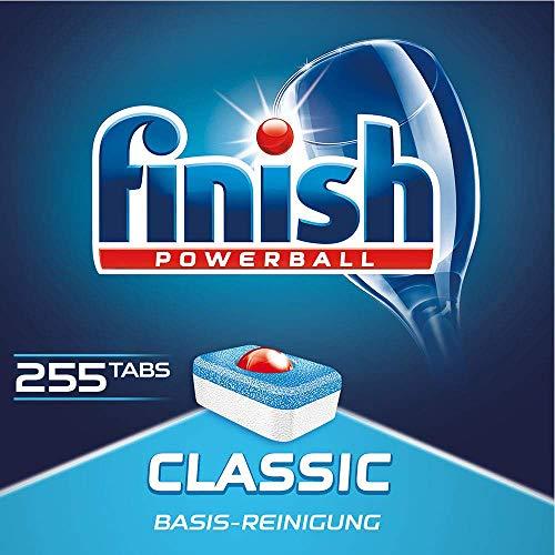 Finish Classic Spülmaschinentabs, phosphatfrei – Geschirrspültabs mit Powerball für die Basis-Reinigung des Geschirrs – Für 4 Monate – Gigapack mit 255 Finish Tabs