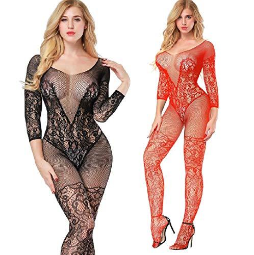 2 Pack Fishnet Bodystocking Lingerie Babydoll Crotchless Teddy Nightie Long Sleeve Bodysuit Plus Size for Women (Black+Red)