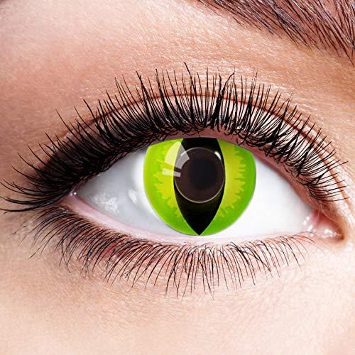 Farbige Kontaktlinsen Grün Ohne Stärke Grüne Linsen Halloween Karneval Fasching Cosplay Kostüm Devil Green Cat Eye Schlitz Reptil Katzenaugen Katze