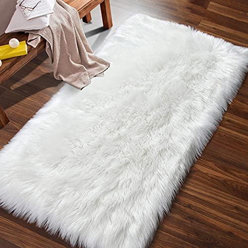 Artificial Alfombra Piel de Imitación Felpa Mullidas Alfombra de Antideslizante para el Dormitorio de la Sala Alfombras de Sofá Blanco 60x90 cm