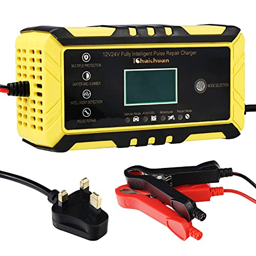 Car Battery Charger, 12V/24V 8Amp Automatic Battery Charger Car Fully...