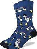 Good Luck Sock Men's Unicorns Crew Socks - Blue, Adult Shoe Size 7-12