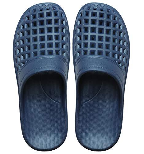 TDYSDYN Sandalias de baño Antideslizantes,Sandalias y Zapatillas de baño de Playa con Agujero, Zapatillas de plástico Antideslizantes de Fondo Suave-Azul Marino_42-43