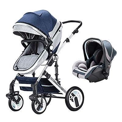 baby stroller Cochecito Plegable Tres en uno, implementación bidireccional, Estructura amortiguadora Tridimensional, Desde el Nacimiento hasta los 4 años (0-25 kg), asa Ajustable en Altura