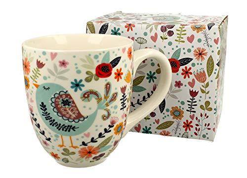Duo, tazza XXL Spring, decorazione etnica, 900 ml, in porcellana, ideale come regalo per ufficio, per caffè, tè, cappuccino, tazza gigante XXXL