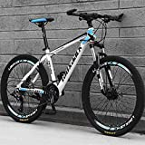 YAPENG Adult Mountain Bike with 26 Inch Wheel Derailleur Lightweight Sturdy 21 Speed Bicycle with Dual Disc Brakes Front Suspension Fork for Men (White-Blue)