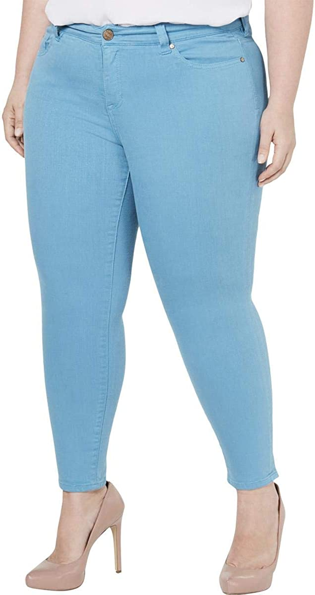 Celebrity Pink Womens Plus Denim Mid-Rise Colored Skinny Jeans Blue 14