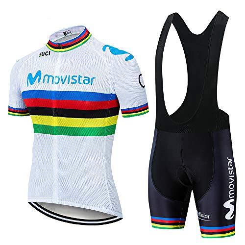 CQXMM Herren Radtrikot Set Fahrrad Kurzarm Set Schnelltrocknend Atmungsaktives Shirt + 3D Cushion Shorts Gepolsterte Hose