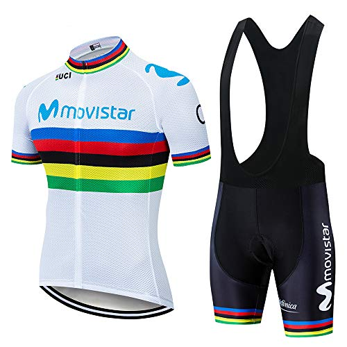 QPROX Traje Equipacion Ciclismo Hombre Verano con 5D Acolchado De Gel,Traje Ciclismo Hombre + Pantalon cortos