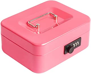 "Decaller Cash Box with Combination Lock, Safe Metal Small Locking Box with Money Tray, 7 4/5"" x 6 4/5"" x 3 3/5"" (Small, Pink)"