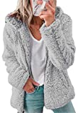 ASKSA Sudadera de forro polar sherpa para mujer, con cremallera completa, de manga larga, con forro polar