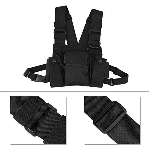 Jacksking Walkie-Talkie-Brusttasche, Nylon Universal-Freisprecheinrichtung, einstellbare Funktasche, hängende Brustschutztasche für Polizei, BAU, Werkstatt